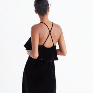 Madewell Dresses - Madewell Velvet Silk Ruffle Mini Dress (BLACK) (S)